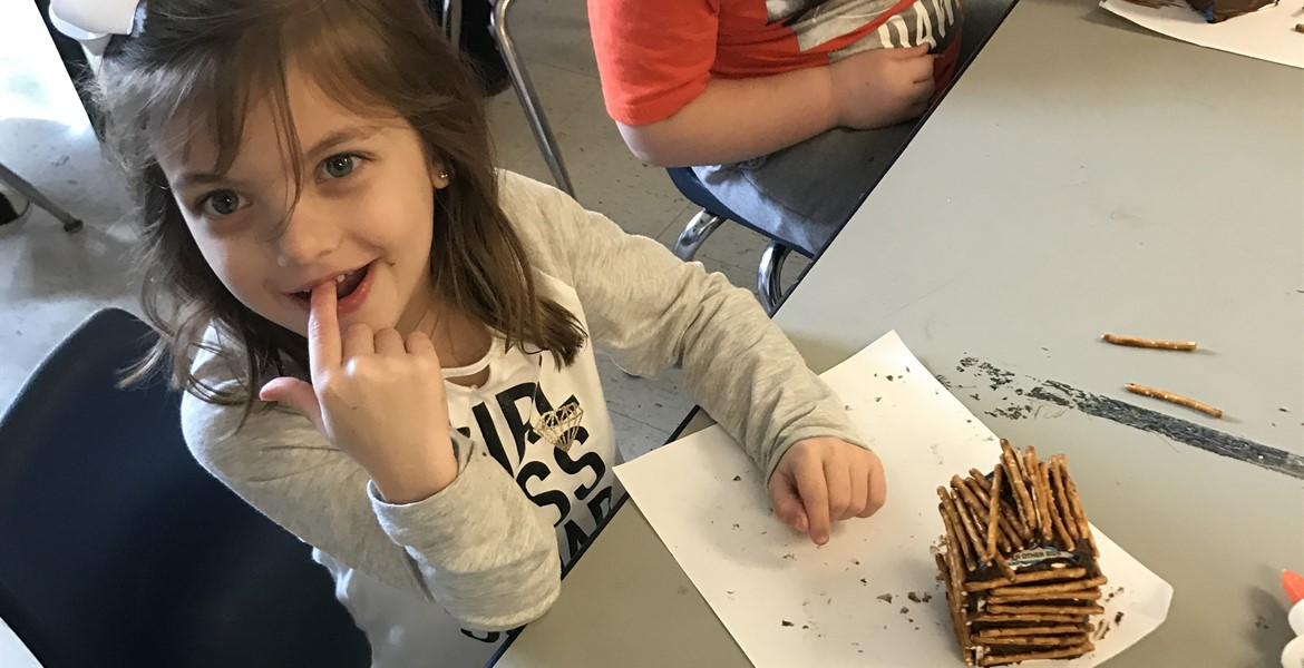 Mrs. Pratt's Kindergarten class celebrates President's Day by learning about Abe Lincoln and building his log home out of pretzel sticks.