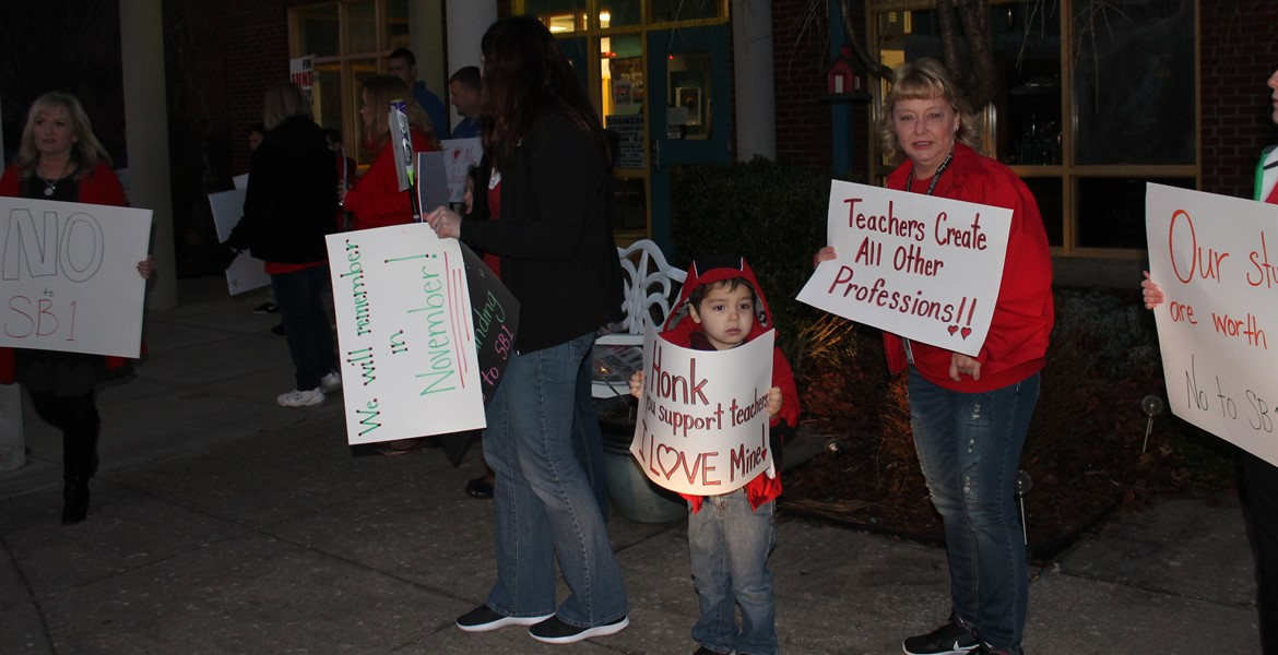 Our teachers marching to save our pension and support our schools.