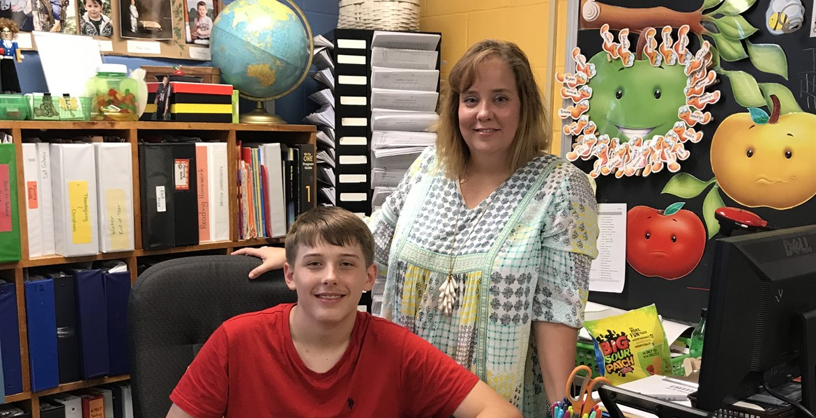 Gatlin with his mom, Mrs. Vanover