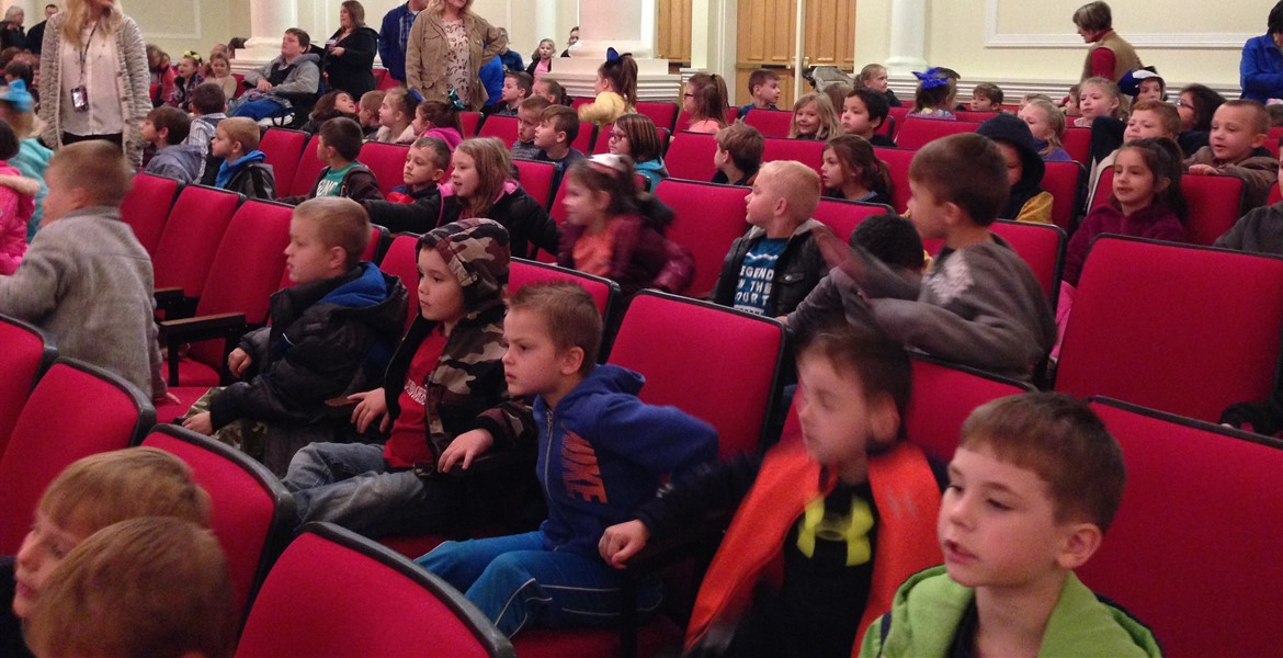 "Getting ready to watch the Lexington Children's Theatre present ""The Snowy Day."""
